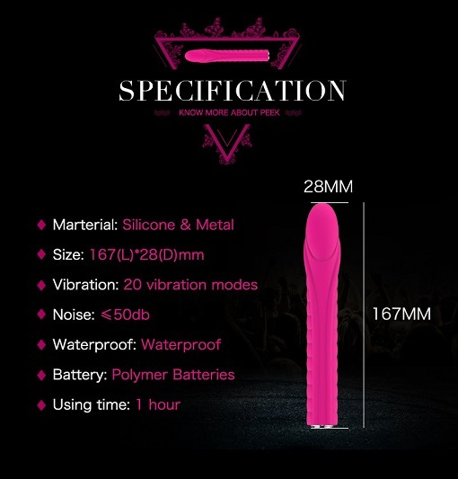 Front view sexy Nalone Dixie Vibrator size chart, in hot pink colour