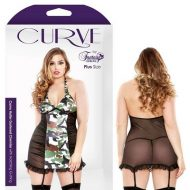 Curve Camo Halter Gartered Chemise Matching With G-String