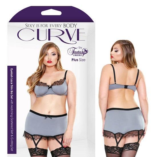 Curve Eyelash Lace Trim Bra Set With Garter Skirt And G-string