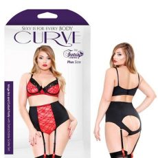 Curve Fringe Bra And Cutout Panty With Detachable Garter Set