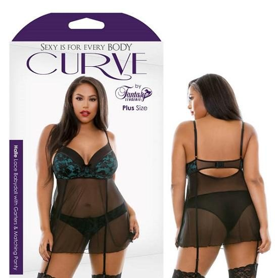 Curve Halle Lace Babydoll Garters Matching Panty