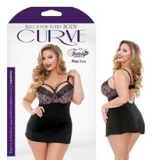 Curve Josephine Cutout Molded Leopard Print Chemise And G-String