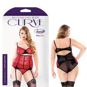 Curve Kenna Soft Cup Bra With Garter Belt Panty