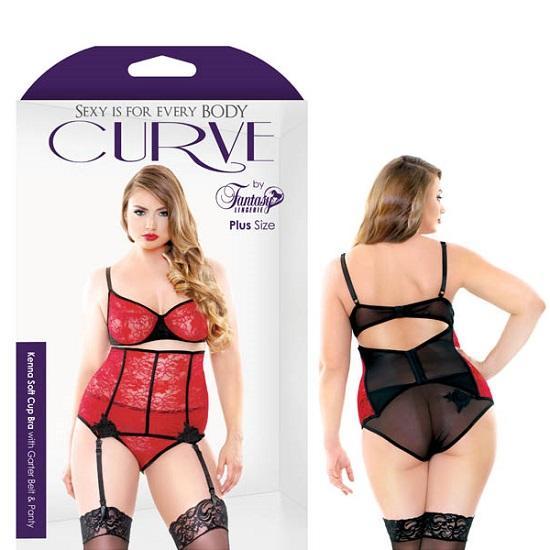 Curve Kenna Soft Cup Bra With Garter Belt Panty