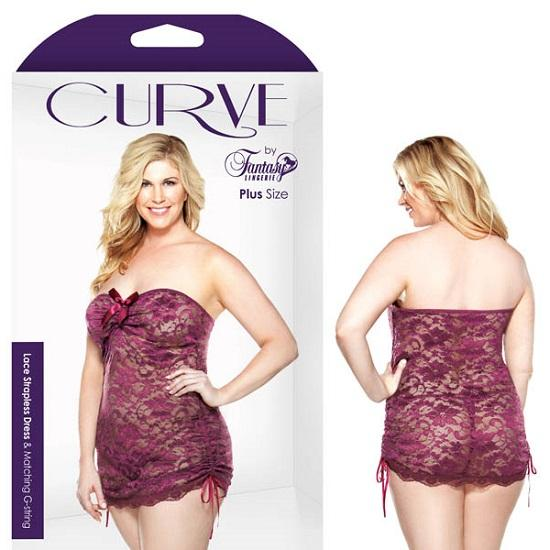 Curve Lace Strapless Dress Matching G-String