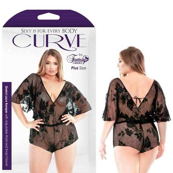 Curve Nelly Stretch Lace Romper Adjustable Waist Snap Closure