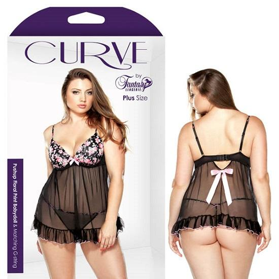 Curve Pushup Floral Print Babydoll Matching G-String