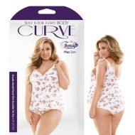 Curve Rosalie Modal Floral Print Shoulder Tie Top Shorts Set