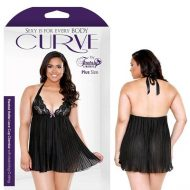 Curve Sarah Pleated Halter Lace Cup Chemise Matching G-String
